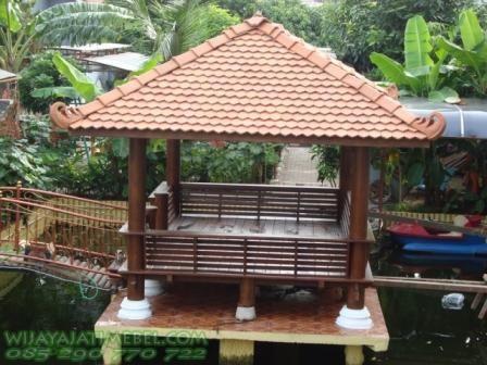 Gazebo Glugu Taman Kolam | Atap Genteng | Sirap | Desain Minimalis | Jual Harga Murah | Jati Jepara | Ukuran | Gambar Desain | Foto | Jogja | Jakarta | Bogor | Pengrajin Mebel Jepara