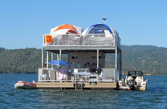 Lake Oroville floating campsites most popular attraction at the Lake. Floating barges hold fifteen campers. Reservations available April thru October