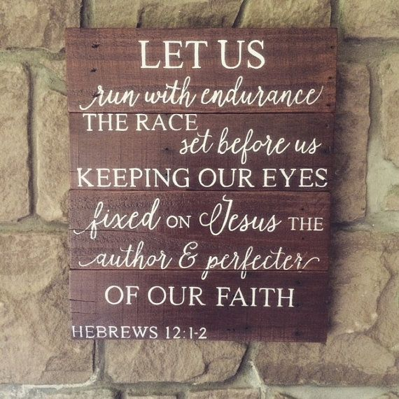 Hebrews 12:1 reclaimed wood sign Hebrews 12 sign by HoneycombSigns