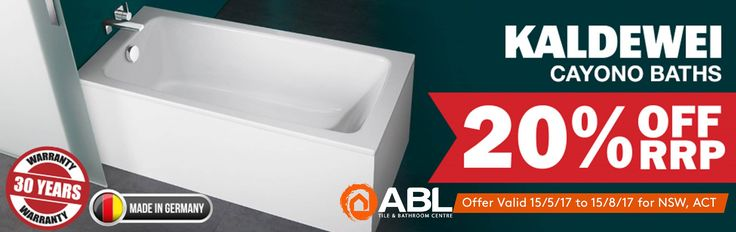 Save 20% off RRP on the Kaldewei range of Cayono baths