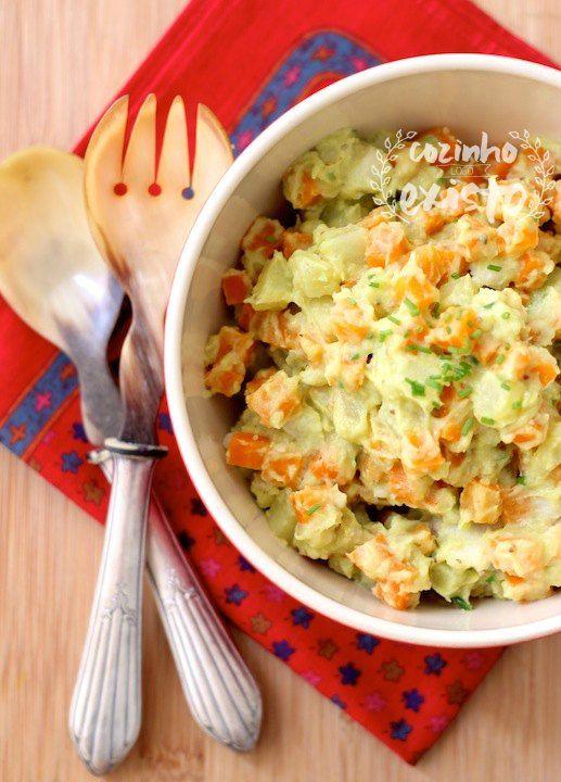 Legumes com maionese de abacate | cenoura, batata doce, inhame, ovos cozidos, passas #maionese #salada