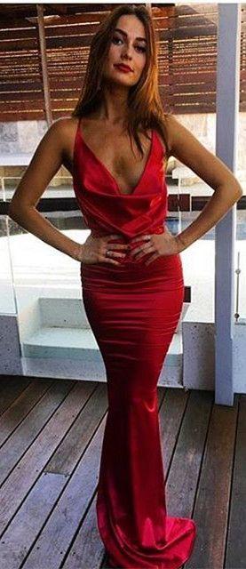 Red Long Mermaid Prom Dress, 2017 Prom Dress, Red Mermaid Long Evening Dress