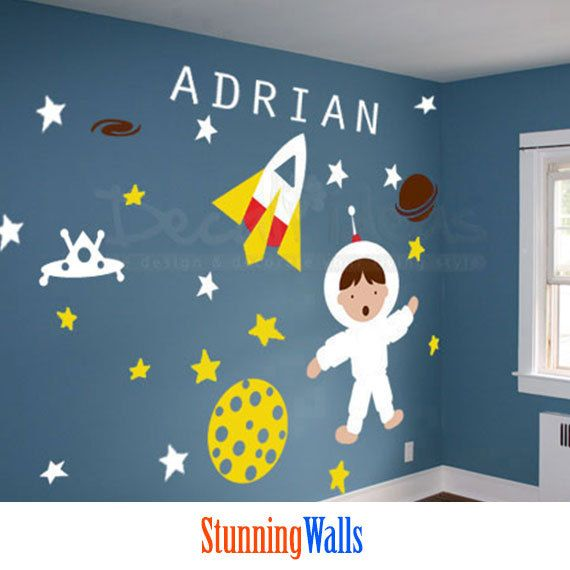 Items Similar To Baby Astronaut Rocket Planets Stars Custom Name Set  Printed Vinyl Wall Decal Art Graphics On Etsy Part 52