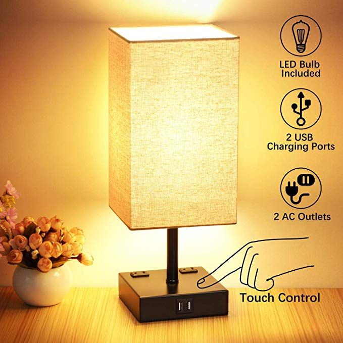 3 Way Touch Control Table Lamp 2 Quick Usb Charging Ports Bedside Nightstand Lamp With 2 Ac Outlets Super Bright Dim Dimmable Table Lamp Table Lamp Led Bulb