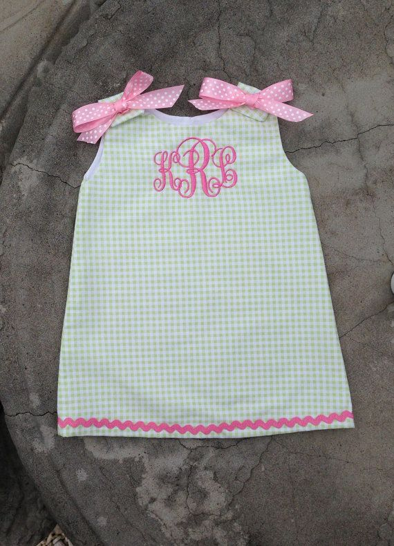 Custom Boutique Monogrammed Baby and Girls summer beach dress made with green gingham and a 3 initial pink embroidered monogram