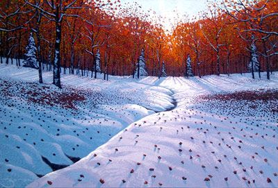 """Winter Warmth"", painting by Mark Berens at Crescent Hill Gallery"
