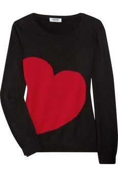 Moschino Cheap and Chic|Knitted heart intarsia sweater|NET-A-PORTER.COM - StyleSays