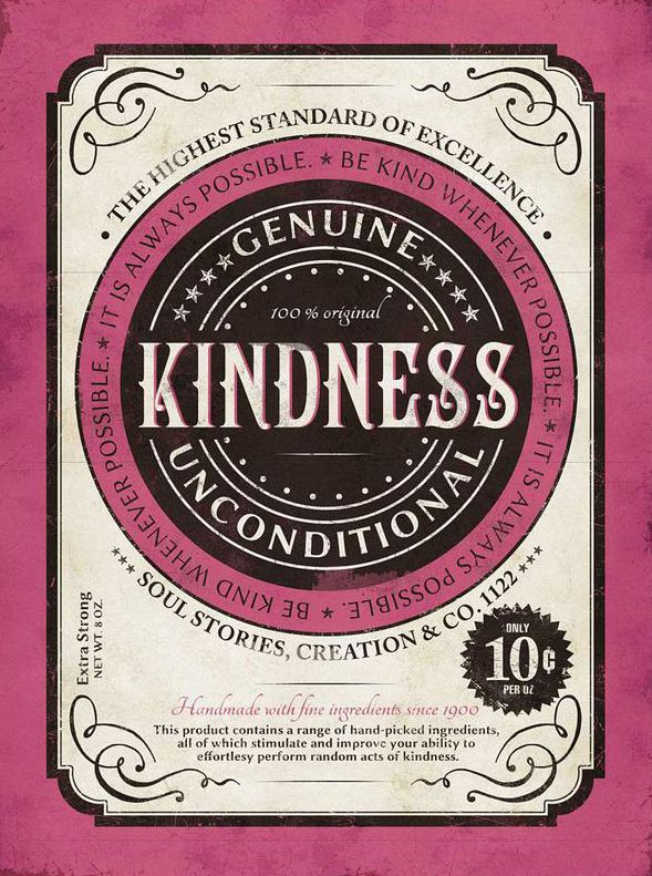 'Kindness' Vintage Canvas Wall Art