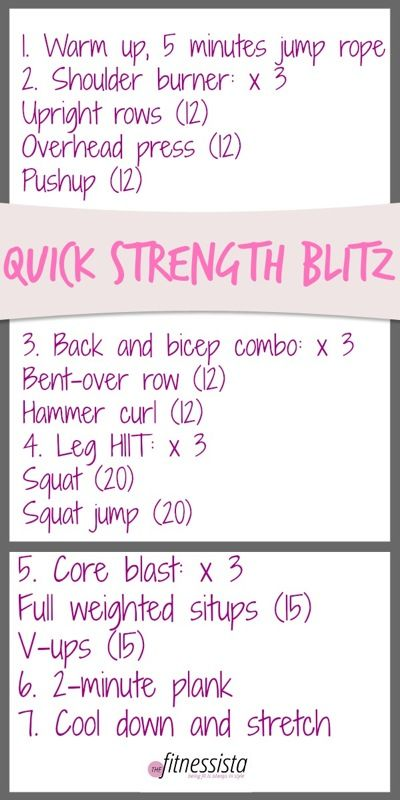 Quick strength blitz. This takes about 30 minutes to complete and will have you dripping in sweat!: Body Workouts, Bodyhiit Workouts, Weight, Quick Workouts, Exercise Workout, Fitnessista Workouts, Quick Strength Blitz1 Jpg, Workouts Fitness
