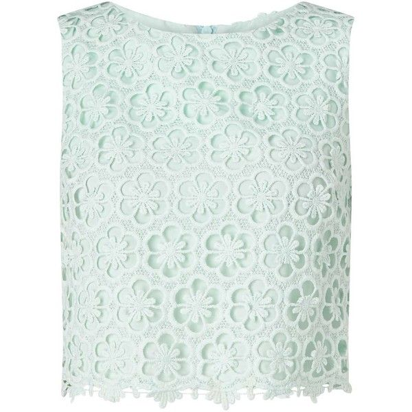 Miss Selfridge Mint Lace Overlay Shell Top ($18) ❤ liked on Polyvore featuring tops, crop tops, shirts, mint green, pastel crop top, mint shirt, crop top, short sleeve shirts and mint green crop top