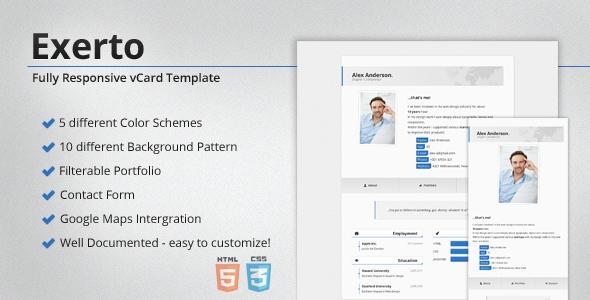 Exerto - Responsive vCard & Portfolio Template