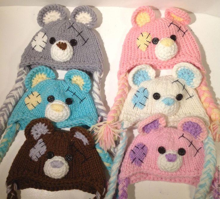 Купить Вязанная шапка для куклы Мишка тедди с косичками - комбинированный, Вязанные шапки, шапка