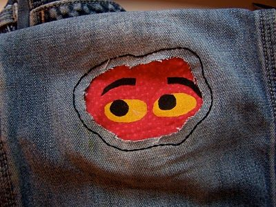 Peekaboo pants patch. Harrison has so many great pants that still fit but have holes in the knees. I'm going out today to get what I need for these!