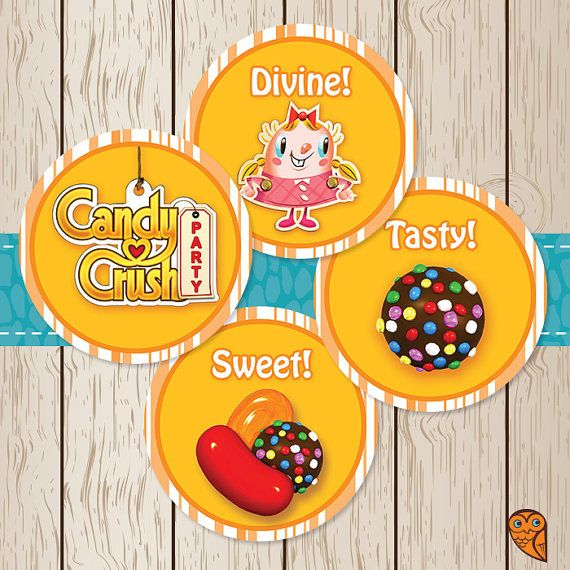 Printable Candy Crush Saga Cupcake Toppers  by BrightOwlCreatives, $2.00