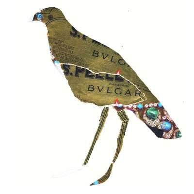 Sparkling Fowl Labels.  Lucio Palmieri Creates Collages in Collaboration with S.Pellegrino & Bulgari