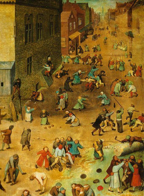 HEN-Magonza Pieter Bruegel d. Ä., Kinderspiele, Ausschnitt (Pieter Bruegel the Elder, Children's Games, detail)
