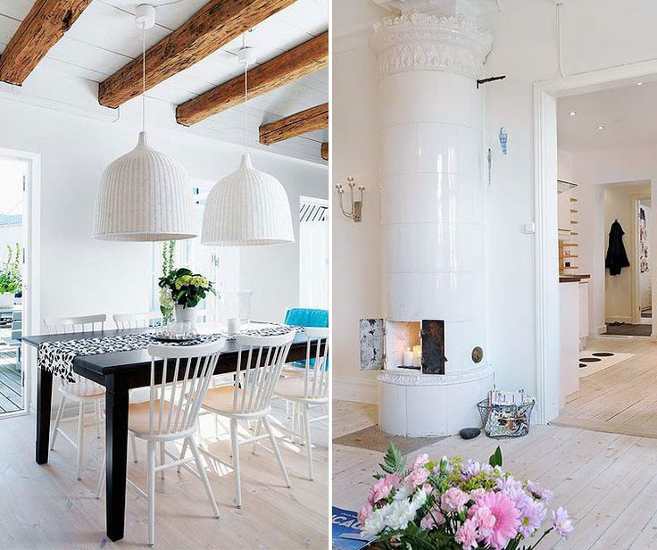 Loving how the dark wood table goes with the white washed for Natural wood beams