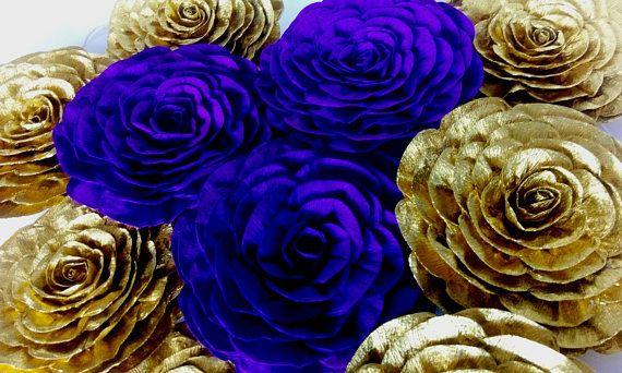 12 Large Paper Flowers Wall Decor Gold Navy Royal Blue Cobalt