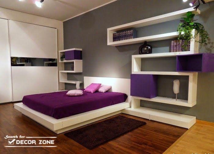 minimalist bedroom with creative shelving