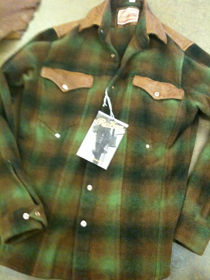 Heavy flannel with checks and leather accents