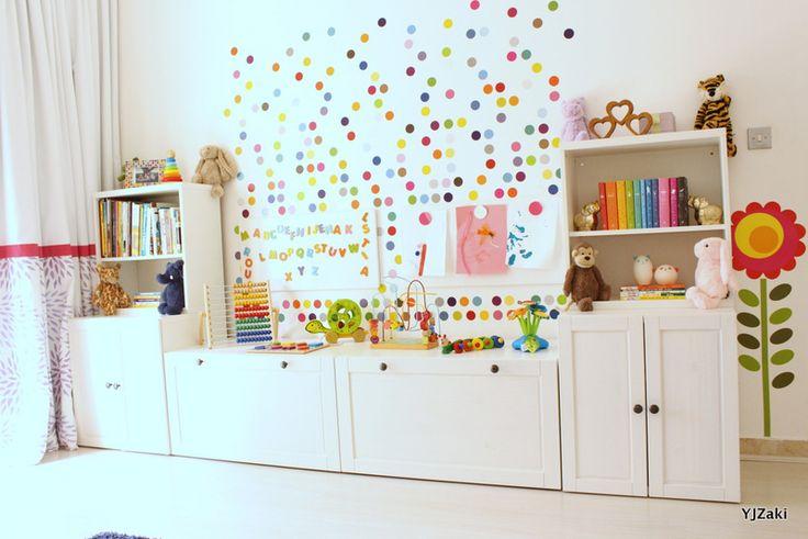 IKEA Stuva toy storage bookshelves, wall decals, rainbow nursery, polka dots
