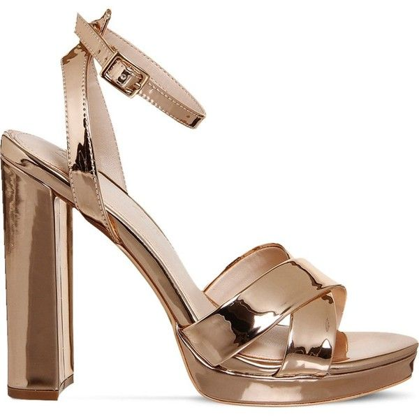 Office Nickle metallic platform sandals (£53) ❤ liked on Polyvore featuring shoes, sandals, metallic high heel sandals, metallic high heel shoes, metallic sandals, print shoes and metallic platform shoes