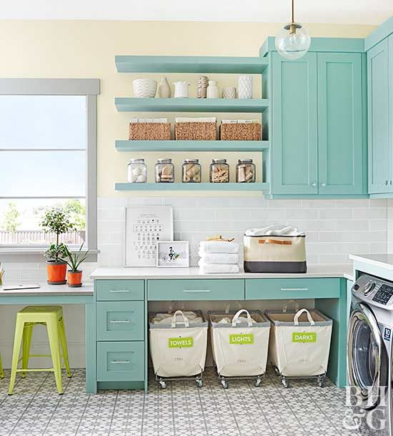 This storage savvy laundry room is much more than a space to wash clothes -- it also doubles as a workspace! Get inspiration to make your laundry room into a true workhorse.