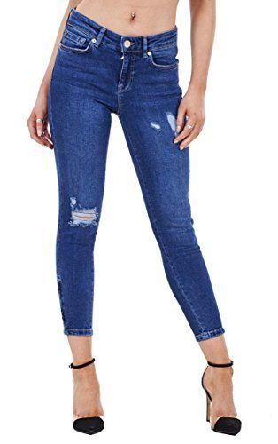 Ladies Skinny Crop Ankle Grazers Frayed Rip Ripped Zip Denim Stretch Jeans RRP £45. UK jeans. Women jeans. It's an Amazon affiliate link.