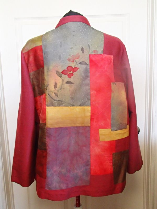 silk jacket fashioned with hand-dyed silk kimono pieces from Laura Murray - back view