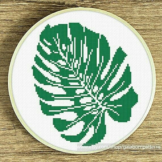 Monsters leaf cross stitch pattern Modern cross stitch