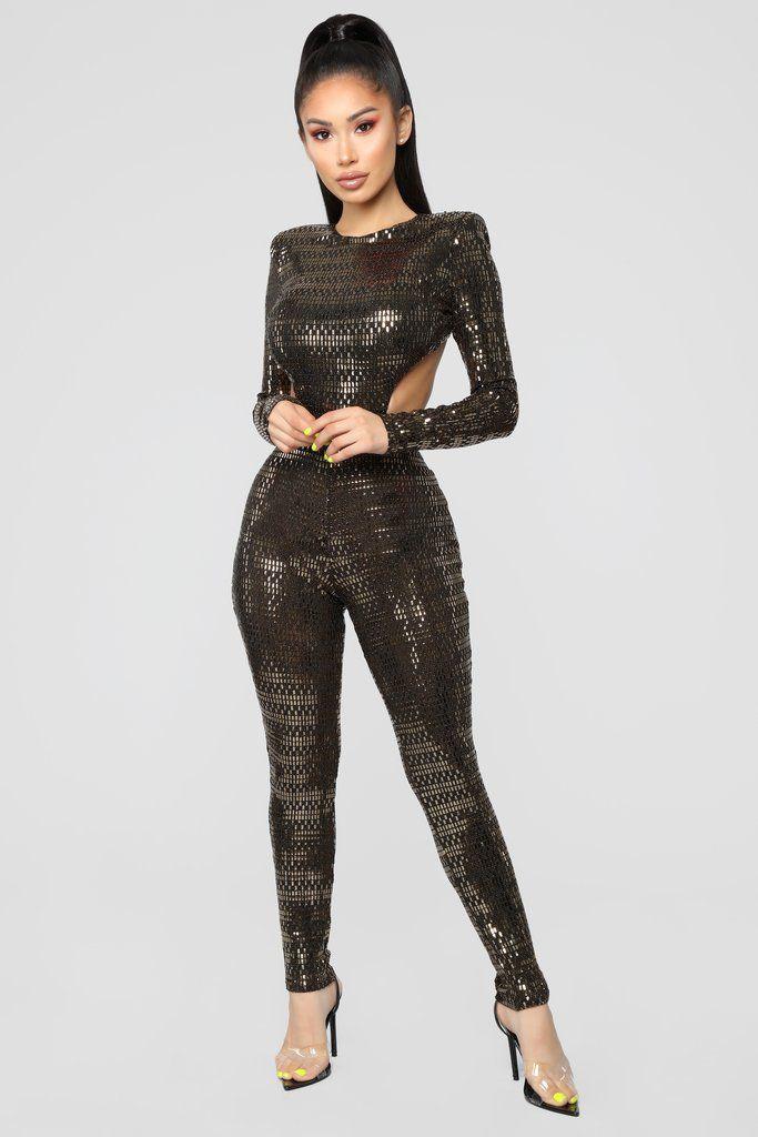 45529830c54 Prime Time Metallic Jumpsuit - Gold. Fashion Nova