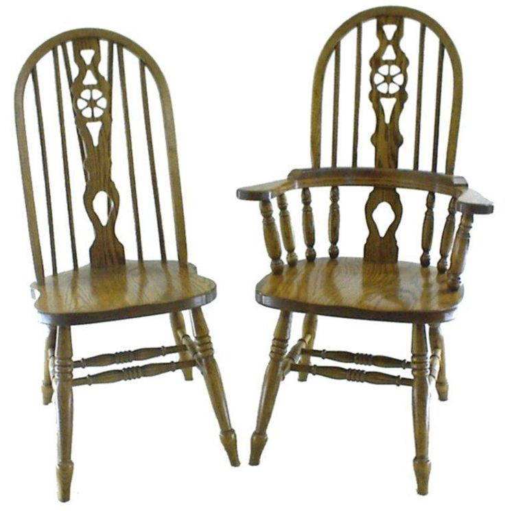 Dining Chairs With Wheels: Amish Wheel Fiddleback Windsor Dining Room Chair