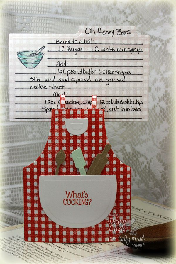 Stamps - Our Daily Bread Designs Recipe Card Lines, Recipe Card Icons, Gingham Background. Exclusive Apron and Tools Die, Exclusive Recipe Card and Tags Die