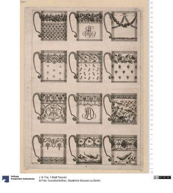 1 Blatt Tassen     Druck      J. B. Fay, Zeichner & Stecher      Material: Papier     Höhe x Breite: 31,5 x 22,5 (Darstellung)