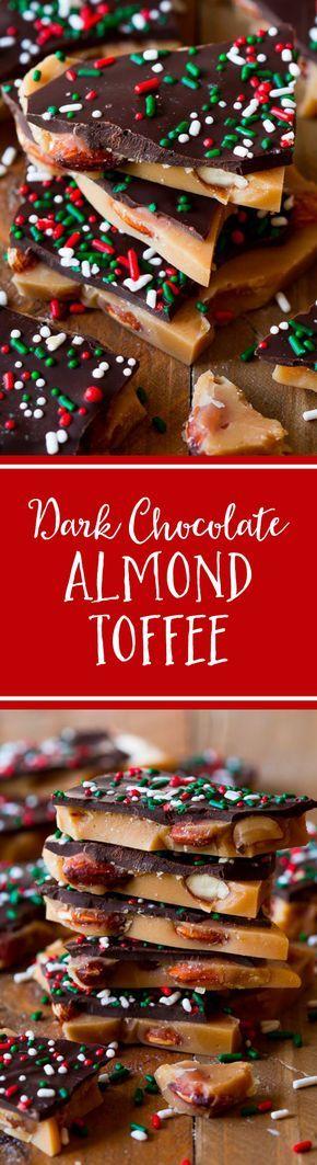 Salted Dark Chocolate Almond Toffee Recipe on sallysbakingaddiction.com-- this stuff is addictive!