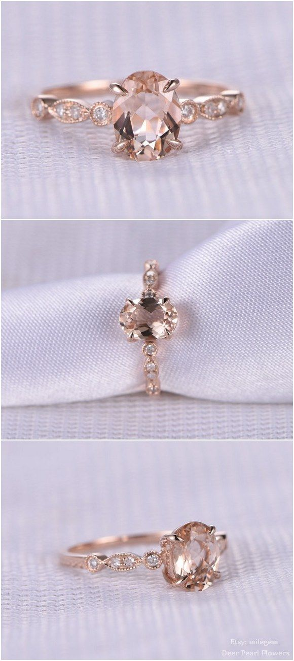 6x8mm Oval Cut Peach gemstone engagement ring / http://www.deerpearlflowers.com/rose-gold-engagement-rings-from-milegem/