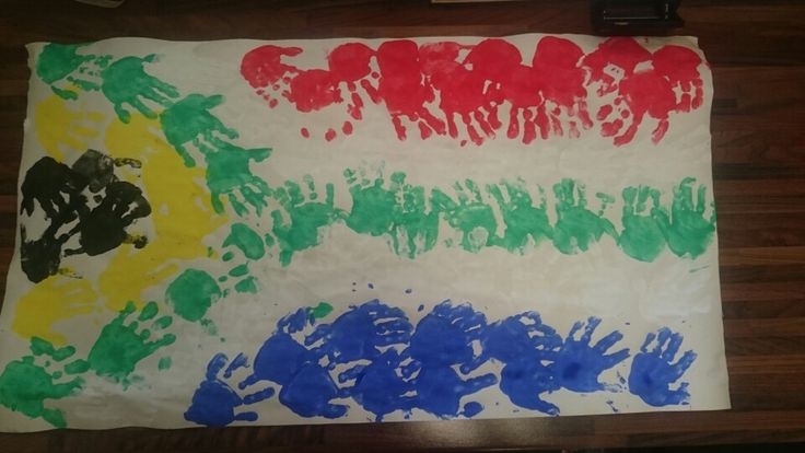 South African Flag.. Done with Hand prints                                                                                                                                                                                 More