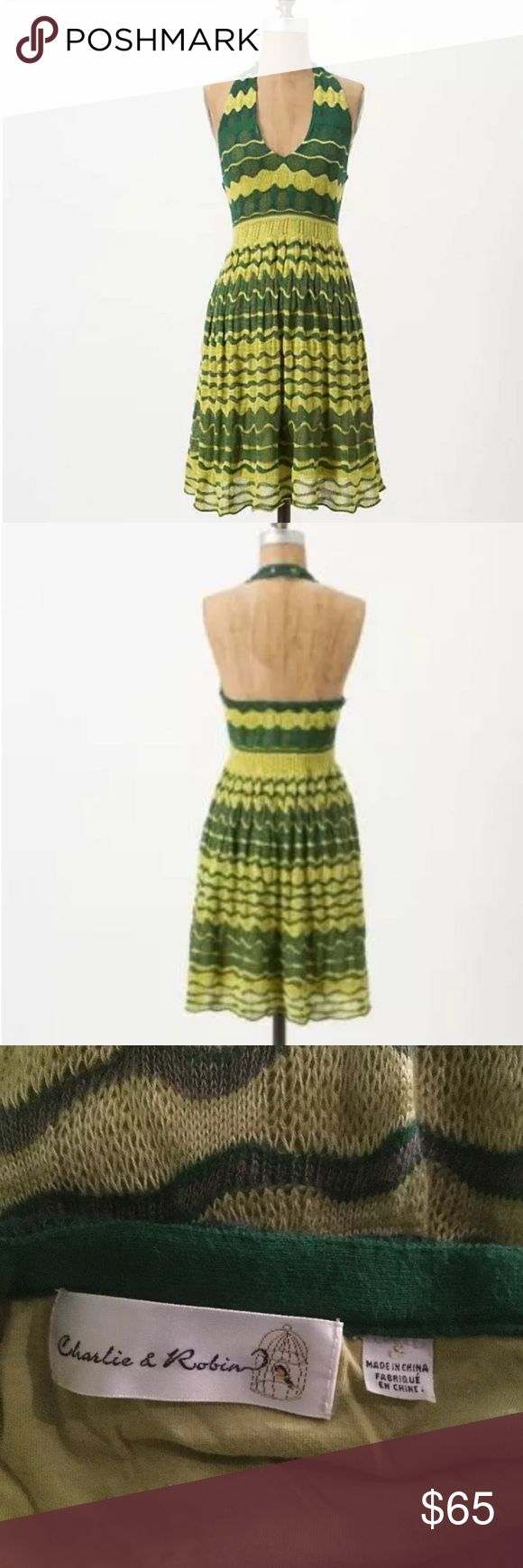 Anthropologie Lemon & Lime Dress Anthropologie by Charlie Robin, Crochet knit zig-zag stripes in bright yellow and green, halter neckline with jeweled buttons at clasp. Super soft crocheted linen fully lined in a very soft lime green knot. This dress reminds me of vintage Missoni! EUC. Anthropologie Dresses