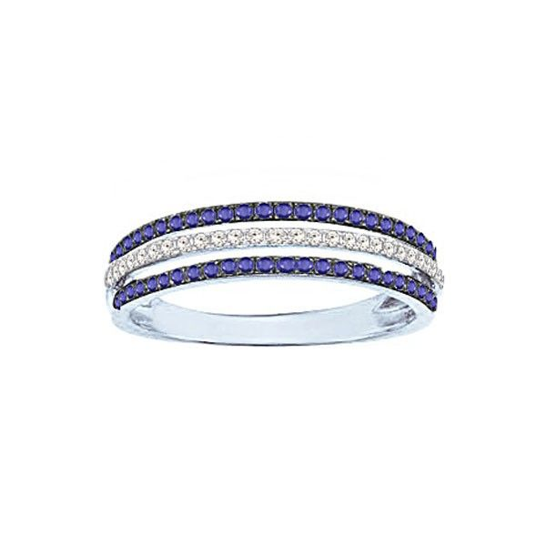 Bague Or blanc 750 - Saphirs et Diamants