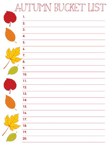 Fall Bucket List Form. write a autumn bucket for myself and finish it.