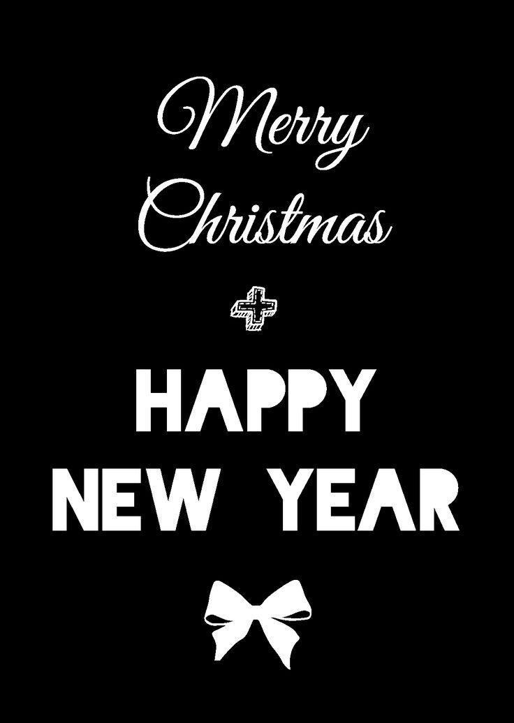 """Kerstkaart zwart wit met de quote """"Merry Christmas + Happy New Year"""" van Studio Inktvis. Zwart wit is de trend van 2014."""