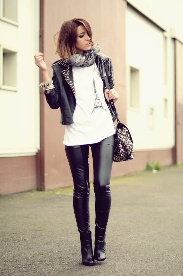 Rocker Style: Concerts Outfits, Rockers Style, Leather Legs, Rockers Chic Style, Leather Jackets, Rocks Chic, Skinny Pants, Fashion Styl, Leather Pants