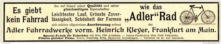 Original-Werbung/ Anzeige 1897 - ADLER FAHRRADWERKE - HEINRICH KLEYER - FRANKFURT a.M. - ca. 190 x 35 mm