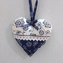 Úžitkový textil - Modro biela tradícia- srdiečko 13x13 - 6558643_