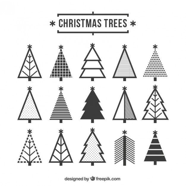 Cute christmas tree icons Free Vector