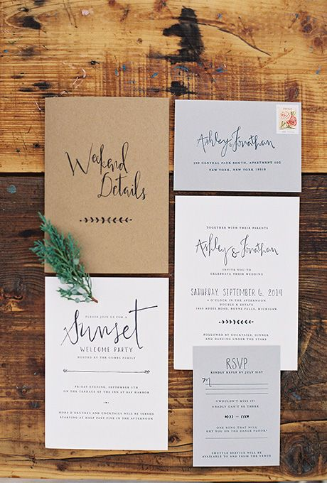"Brides.com: . ""Simply Rustic"" letterpress wedding invitation suite, starting at $1,500 for 100 invitation suites, Smash + Co"