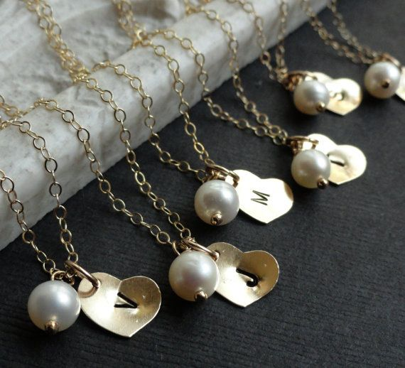 Bridesmaid Gifts, Set of 8: Eight gold Initial Necklaces, bridesmaid necklaces, gold heart, pearl, personalized Bridesmaid gifts