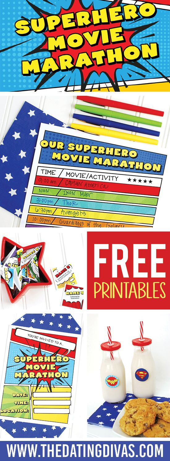 Binge watch your favorite superhero movies for date night! Printables designed by www.jabcreativeaustralia.com www.TheDatingDivas.com