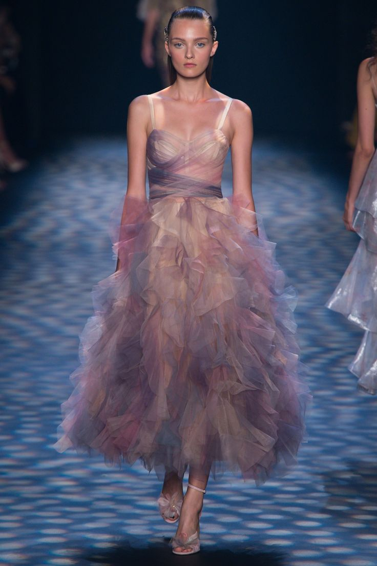 NY- love it all. Nude but not, fitted bodice, flaunty floncy!  Marchesa Spring 2017 Ready-to-Wear Fashion Show - Julia Belyakova