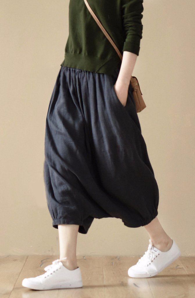 Dark Blue Women Pants Loose Trousers LR653